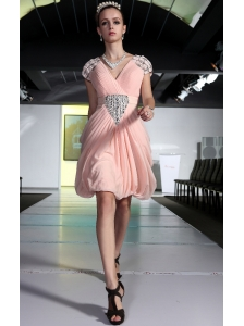 Baby Pink Column V-neck Mini-length Chiffon Beading and Rhinestones Prom Dress