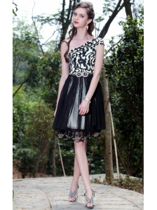 Beautiful Empire One Shoulder Knee-length Printing Beading Prom / Cocktail Dress