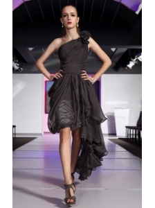 Black Asymmetrical One Shoulder High-low Chiffon Hand Made Flowers Prom Dress