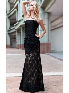 Black Column / Sheath Strapless Floor-length Ruffles Lac and Chiffon Prom / Evening Dress