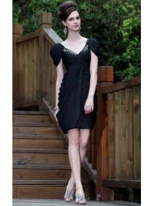 Black Column V-neck Mini-length Taffeta Beading Prom Dress