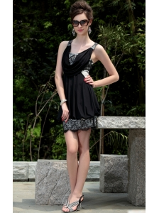 Black Empire V-neck Mini-length Taffeta Lace Prom / Homecoming Dress