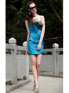 Teal Column Strapless Mini-length Taffeta Sequin Ruch Prom / Homecoming Dress