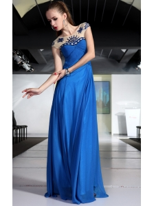 Peacock Blue Empire Bateau Brush Train Chiffon Beading and Ruch Prom / Graduation Dress