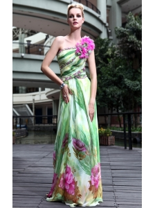 Brand New Empire One Shoulder Floor-length Print Handle Flowers Prom Dress