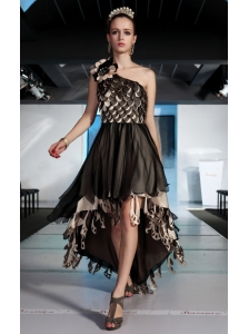 Brown A-line One Shoulder High-low Organza Hand Made Flowers Prom Dress