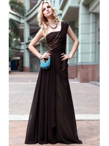 Brown Empire One Shouder Floor-length Chiffon Rhinestone Prom / Evening Dress