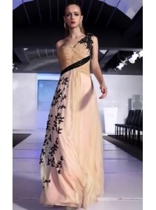 Champagne and Pink Column / Sheath One Shoulder Floor-length Chiffon Appliques Prom / Evening Dress