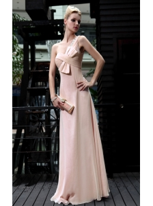 Champagne Empire One Shoulder Floor-length Chiffon Paillette Prom Dress