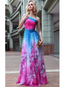 Empire One Shoulder Floor-length Ruch Print Prom Dress