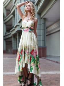 Empire Sweetheart High-low Print Ruch Prom Dress