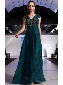 Dark Green Empire V-neck Floor-length Sequin Beading Prom / Evening Dress