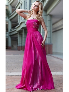 Fuchsia Empire Strapless Floor-length Chiffon Sequins Prom Dress