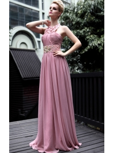 Light Pink Empire Halter Floor-length Chiffon Appliques Prom Dress