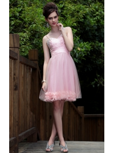 Pink A-Line / Princess Spaghetti Straps Knee-length Tulle Beading Prom / Homecoming Dress
