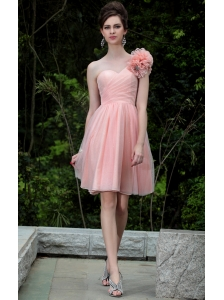 Pink A-line One Shoulder Knee-length Organza Hand Made Flowers Prom / Homecoming Dress