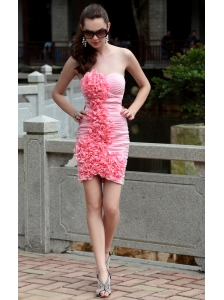 Pink Column Sweetheart Mini-length Chiffon Ruch Prom / Homecoming Dress