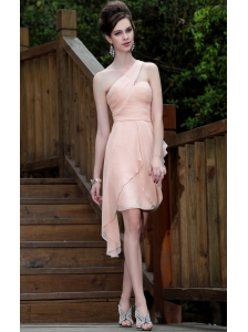 Pink Empire One Shoulder Asymmetrical Chiffon Ruch Prom / Homecoming Dress