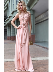 Baby Pink Empire One Shoulder Floor-length Chiffon Beading and Ruch Prom Dress