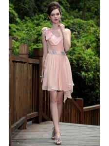Light Pink Empire One Shoulder Mini-length Chiffon Beading Prom / Homecoming Dress