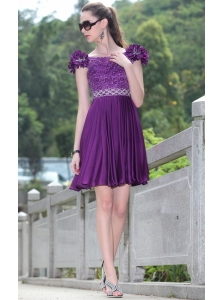 Eggplant Purple A-line Bateau Mini-length Elastic Woven  Satin Beading Lace Hand Made Flowers Prom / Cocktail Dress