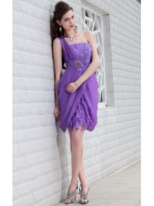 Purple Column One Shoulder Mini-length Chiffon Beading Prom / Homecoming Dress