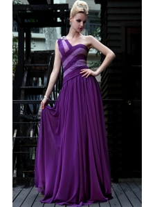 Eggplant Purple Empire One Shoulder Floor-length Chiffon Prom / Evening Dress