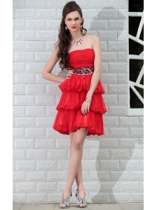 Coral Red A-Line / Princess Strapless Mini-length Chiffon Rhinestones and Sequins Prom / Homecoming Dress
