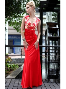 Red Empire Scoop Neck Floor-length Taffeta Appliques Prom Dress