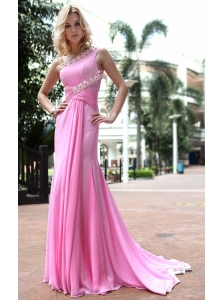 Rose Pink Empire One Shoulder Brush / Sweep Chiffon Ruch Prom Dress