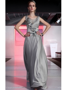 Grey Empire V-neck Floor-length Chiffon Beading and Ruch Prom / Evening Dress
