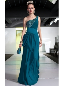 Turquoise Empire One Shoulder Floor-length Chiffon Beading and Ruch Prom / Celebrity Dress