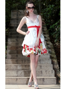 White A-Line / Princess V-neck Mini-length Taffeta and Print Beading Prom / Graduation Dress