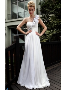 White Empire One Shoulder Floor-length Chiffon Beading and Ruch Prom Dress