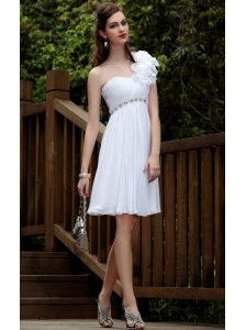 White Empire One Shoulder Knee-length Chiffon Beading Prom / Cocktail Dress