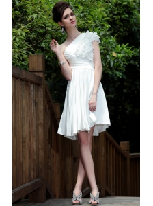 White Empire One Shoulder Knee-length Elastic Woven Satin Ruch and Hand Made Flowers Prom / Homecoming Dress