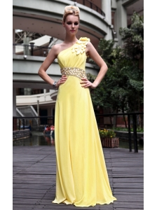Yellow Empire One Shoulder Beading  Prom / Pageant Dress