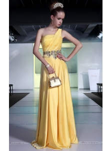 Yellow Empire One Shoulder Brush Train Chiffon Beading and Ruch Prom / Graduation Dress