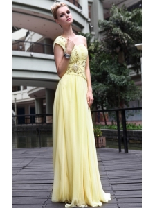 Yellow Empire One Shoulder Floor-length Beading Chiffon Prom/Party Dress