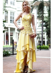 Yellow Empire One Shoulder High-low Ruffles Prom Dress