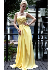 Yellow Empire Strapless Floor-length Beading Prom / Pageant Dress