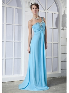 Baby Blue Empire One Shoulder Brush Train Elastic Woven Satin Beading Prom Dress