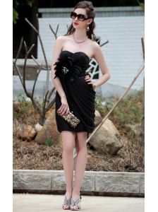 Black Column / Sheath Sweetheart Mini-length Taffeta Beading Ruch Prom / Cocktail Dress