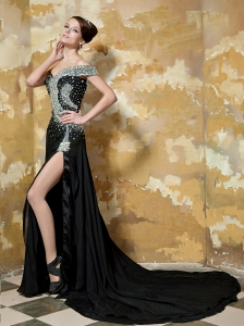Black Empire One Shoulder Court Train Elastic Woven Satin Beading Prom / Celebrity Dress