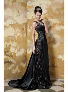 Black Empire V-neck Brush Train Elastic Woven Satin Beading Prom / Celebrity Dress