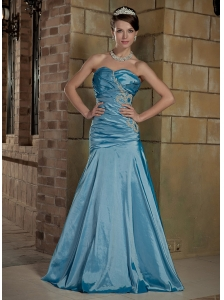 Sky Blue A-Line / Princess Sweetheart Brush Train Taffeta Beading Prom / Evening Dress
