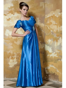 Blue Empire Sweetheart Short Sleeves Floor-length Elastic Woven Satin Beading Mother Of The Bride Dress