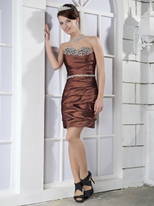 Brown Column / Sheath Sweetheart Mini-length Taffeta Beading Prom Dress