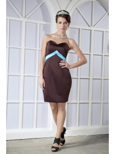 Brown Column / Sheath Sweetheart Mini-length Satin Bowknot Bridesmaid Dress