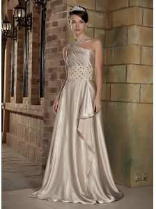 Champagne A-Line / Princess One Shoulder Brush Train Elastic Wove Satin Beading and Ruch Prom / Evening Dress